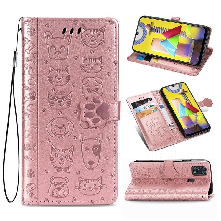 Embossing Dog Paw Kitten and Puppy Leather Wallet Case for Samsung Galaxy M31 - Rose Gold