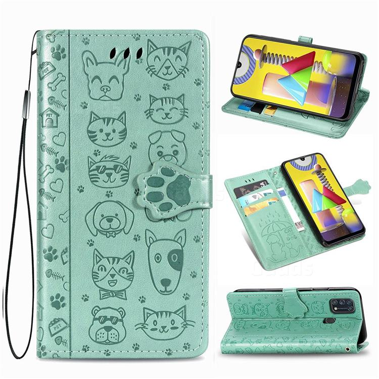 Embossing Dog Paw Kitten and Puppy Leather Wallet Case for Samsung Galaxy M31 - Green