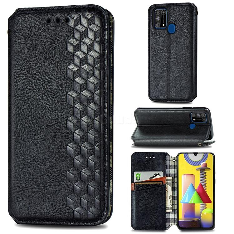 Ultra Slim Fashion Business Card Magnetic Automatic Suction Leather Flip Cover for Samsung Galaxy M31 - Black