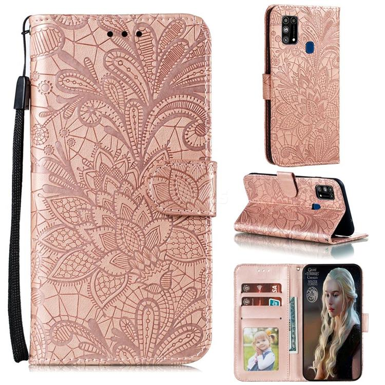 Intricate Embossing Lace Jasmine Flower Leather Wallet Case for Samsung Galaxy M31 - Rose Gold