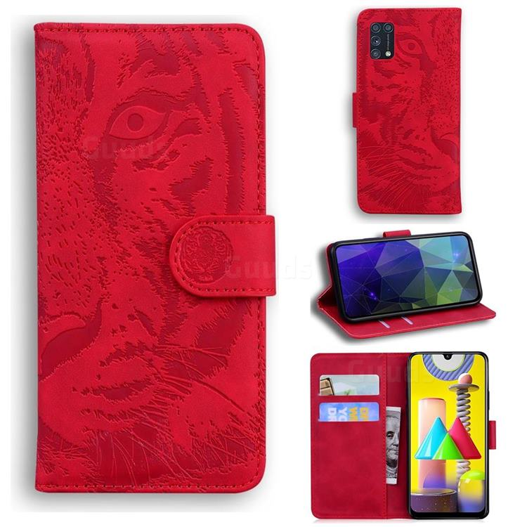 Intricate Embossing Tiger Face Leather Wallet Case for Samsung Galaxy M31 - Red