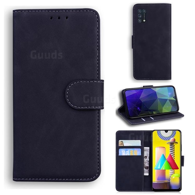 Retro Classic Skin Feel Leather Wallet Phone Case for Samsung Galaxy M31 - Black