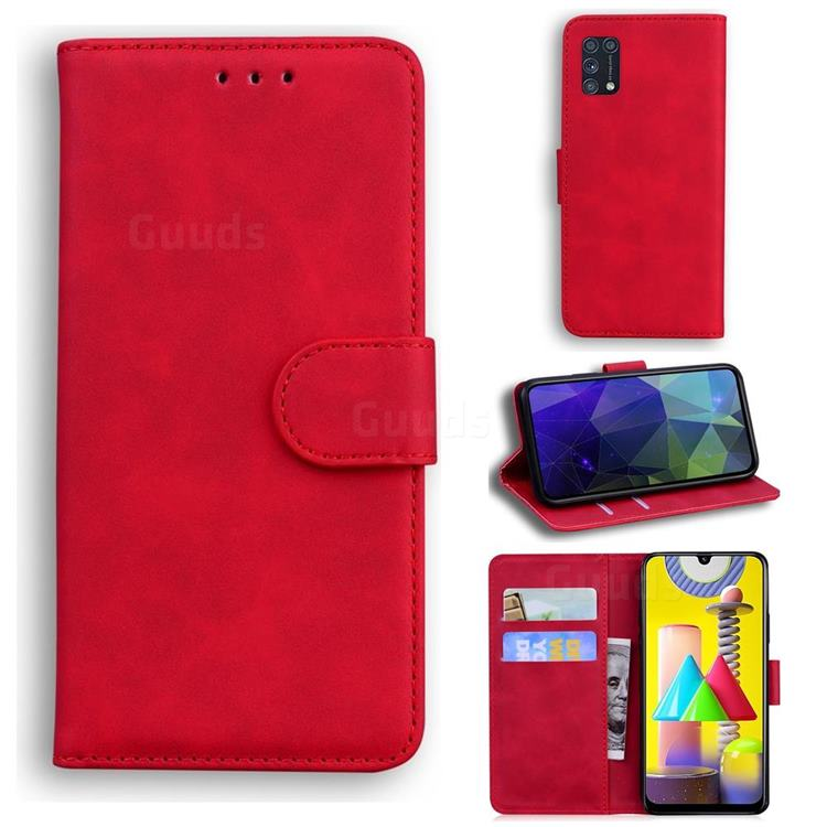 Retro Classic Skin Feel Leather Wallet Phone Case for Samsung Galaxy M31 - Red