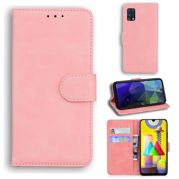 Retro Classic Skin Feel Leather Wallet Phone Case for Samsung Galaxy M31 - Pink