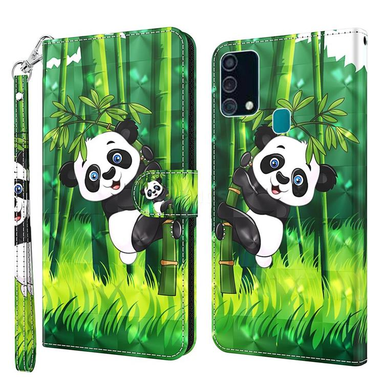 Climbing Bamboo Panda 3D Painted Leather Wallet Case for Samsung Galaxy M31