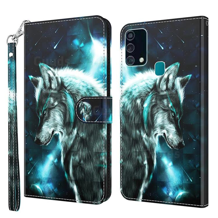 Snow Wolf 3D Painted Leather Wallet Case for Samsung Galaxy M31