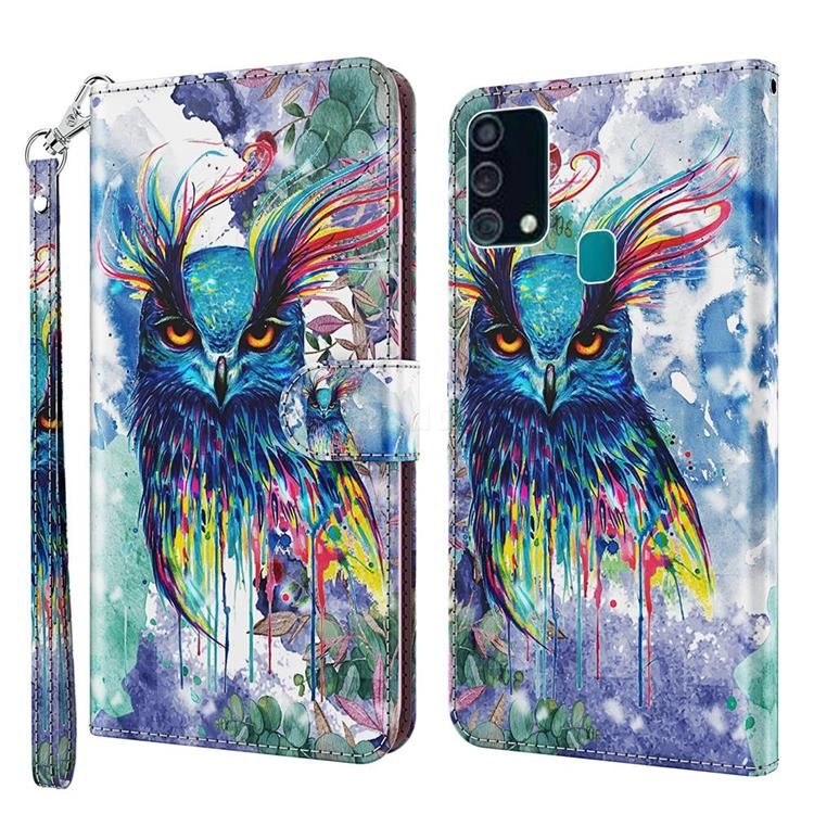 Watercolor Owl 3D Painted Leather Wallet Case for Samsung Galaxy M31