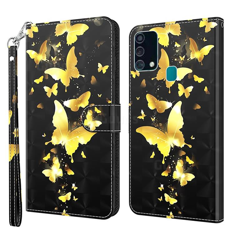 Golden Butterfly 3D Painted Leather Wallet Case for Samsung Galaxy M31