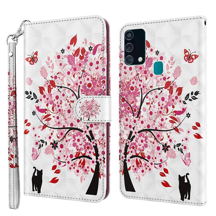 Tree and Cat 3D Painted Leather Wallet Case for Samsung Galaxy M31