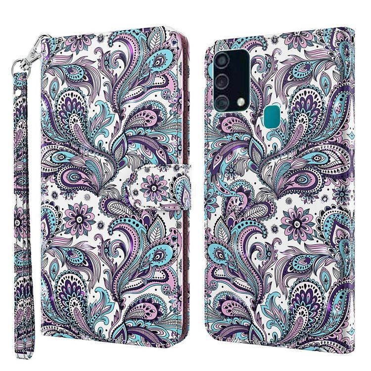 Swirl Flower 3D Painted Leather Wallet Case for Samsung Galaxy M31
