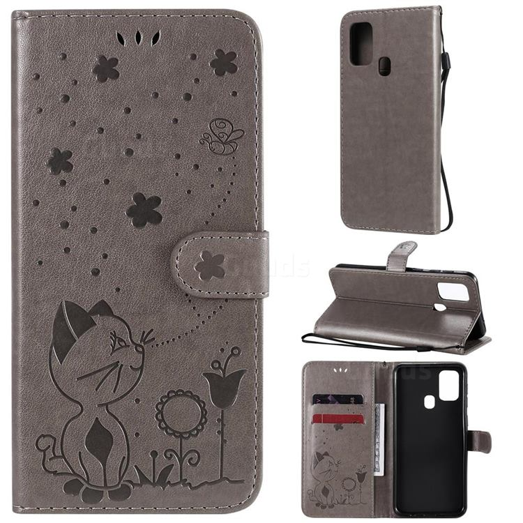 Embossing Bee and Cat Leather Wallet Case for Samsung Galaxy M31 - Gray