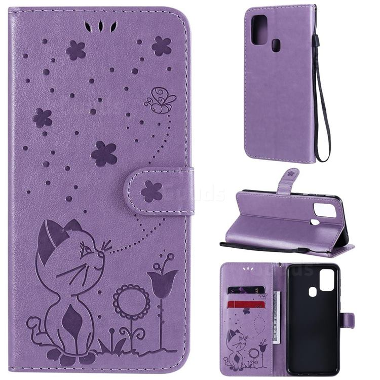 Embossing Bee and Cat Leather Wallet Case for Samsung Galaxy M31 - Purple