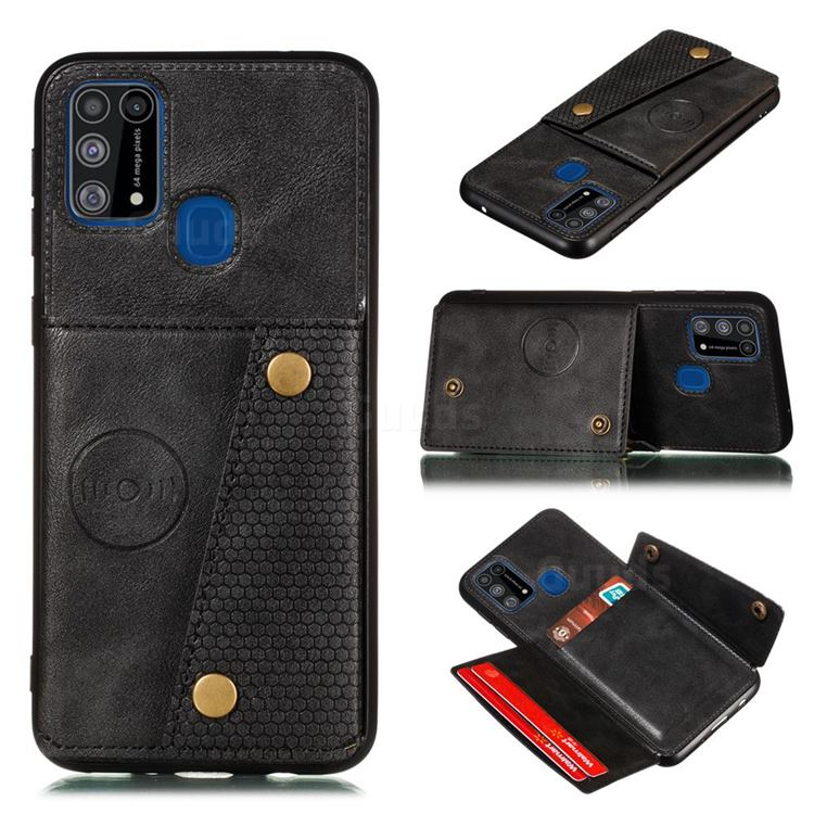 Retro Multifunction Card Slots Stand Leather Coated Phone Back Cover for Samsung Galaxy M31 - Black