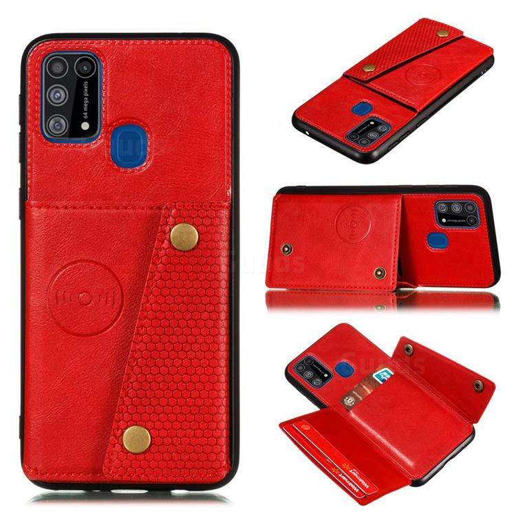 Retro Multifunction Card Slots Stand Leather Coated Phone Back Cover for Samsung Galaxy M31 - Red
