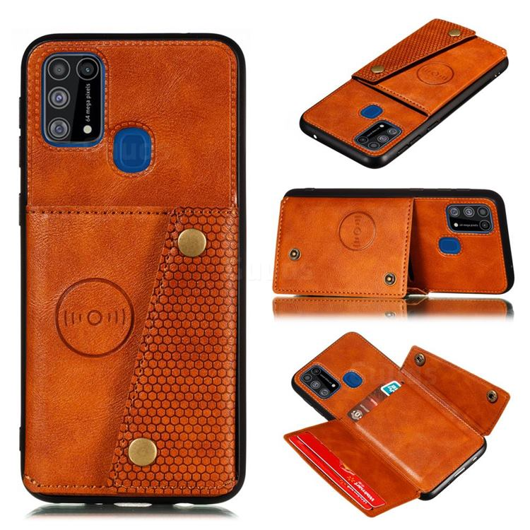 Retro Multifunction Card Slots Stand Leather Coated Phone Back Cover for Samsung Galaxy M31 - Brown