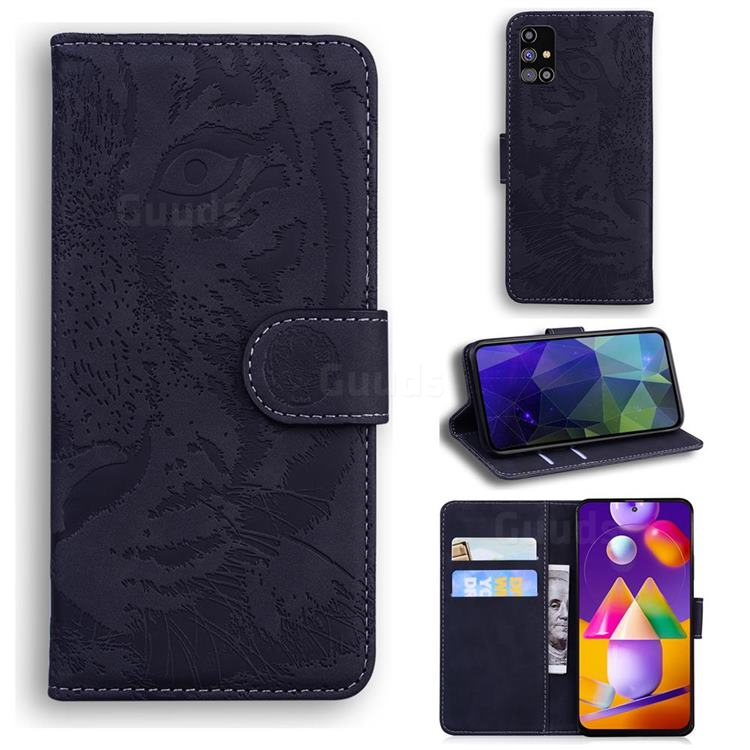 Intricate Embossing Tiger Face Leather Wallet Case for Samsung Galaxy M31s - Black