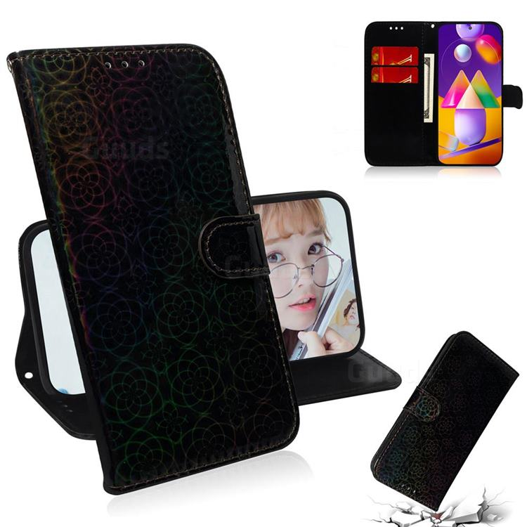 Laser Circle Shining Leather Wallet Phone Case for Samsung Galaxy M31s - Black