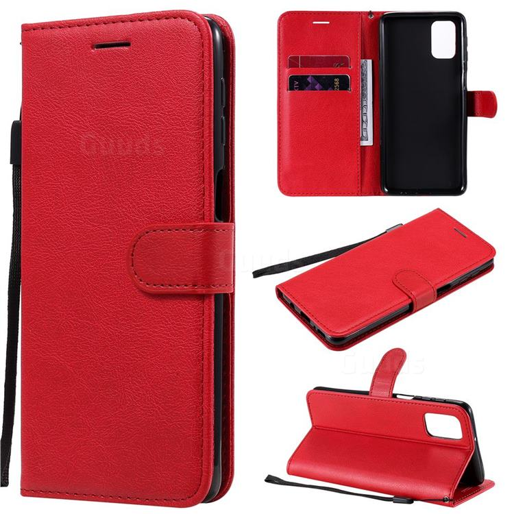 Retro Greek Classic Smooth PU Leather Wallet Phone Case for Samsung Galaxy M31s - Red