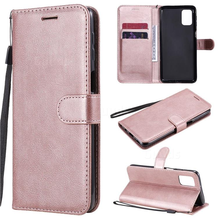 Retro Greek Classic Smooth PU Leather Wallet Phone Case for Samsung Galaxy M31s - Rose Gold