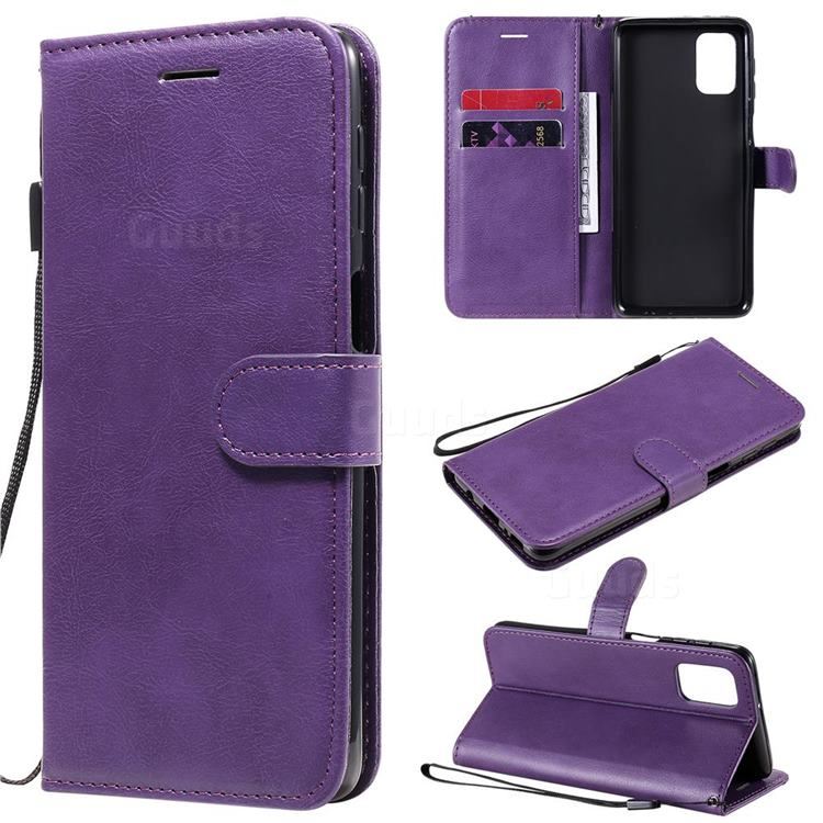 Retro Greek Classic Smooth PU Leather Wallet Phone Case for Samsung Galaxy M31s - Purple