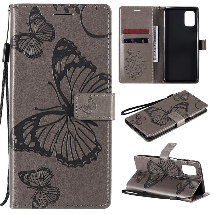 Embossing 3D Butterfly Leather Wallet Case for Samsung Galaxy M31s - Gray