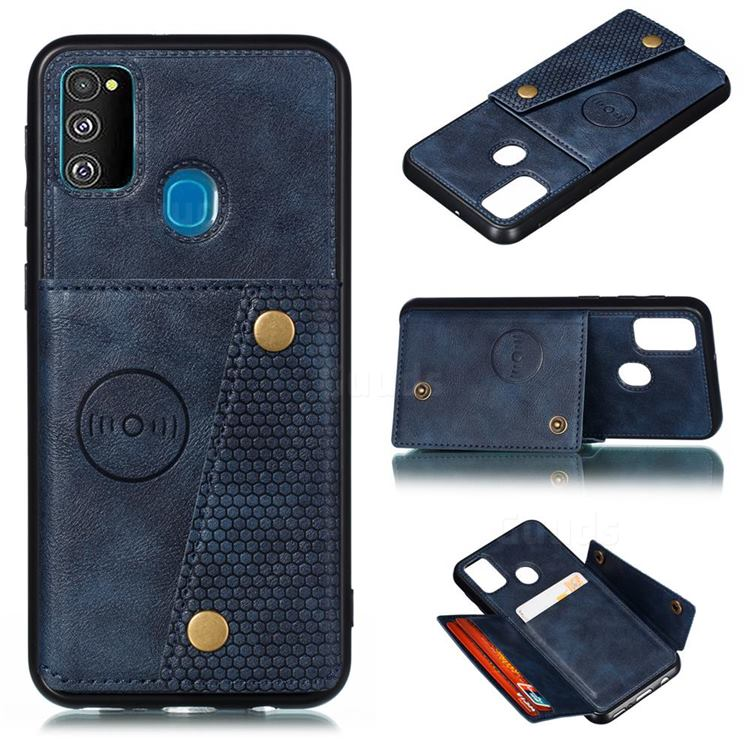 Retro Multifunction Card Slots Stand Leather Coated Phone Back Cover for Samsung Galaxy M31s - Blue