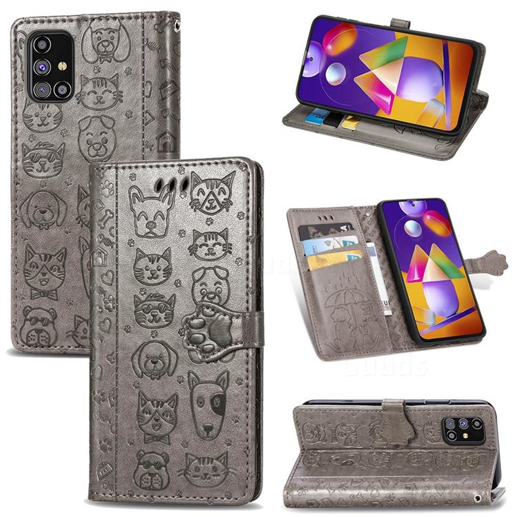 Embossing Dog Paw Kitten and Puppy Leather Wallet Case for Samsung Galaxy M31s - Gray