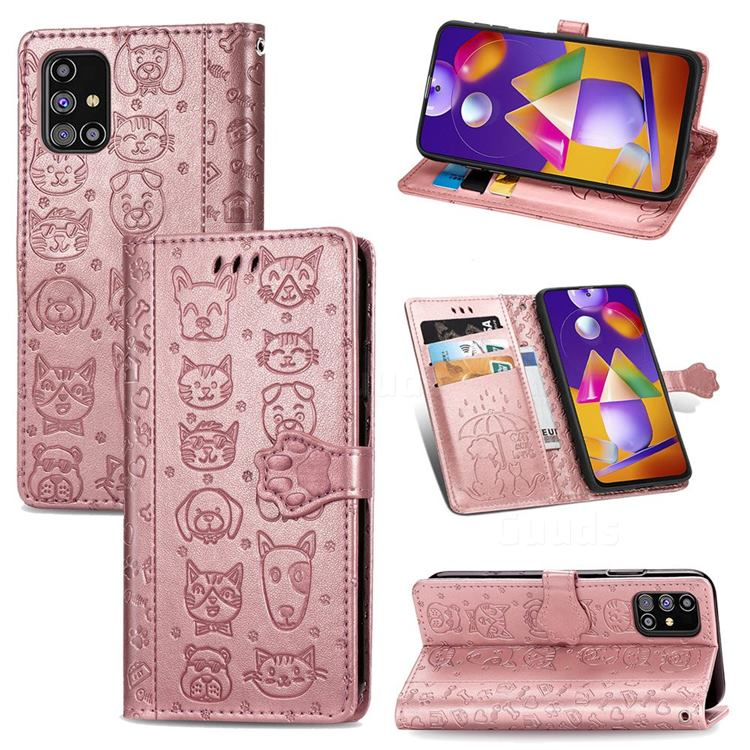 Embossing Dog Paw Kitten and Puppy Leather Wallet Case for Samsung Galaxy M31s - Rose Gold