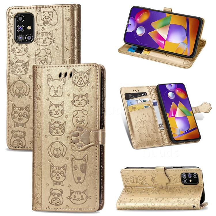 Embossing Dog Paw Kitten and Puppy Leather Wallet Case for Samsung Galaxy M31s - Champagne Gold