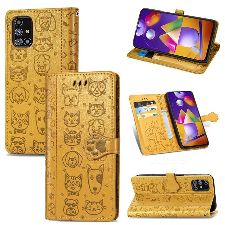 Embossing Dog Paw Kitten and Puppy Leather Wallet Case for Samsung Galaxy M31s - Yellow