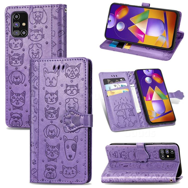 Embossing Dog Paw Kitten and Puppy Leather Wallet Case for Samsung Galaxy M31s - Purple