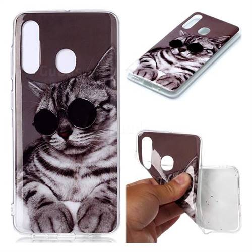 Kitten with Sunglasses Soft TPU Cell Phone Back Cover for Samsung Galaxy M40