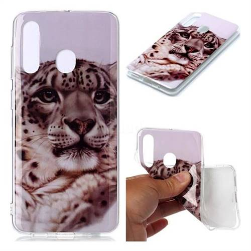 White Leopard Soft TPU Cell Phone Back Cover for Samsung Galaxy M40