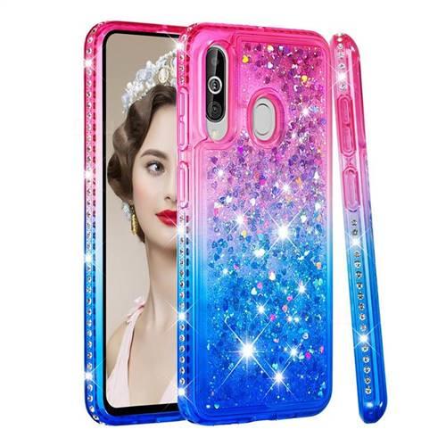 Diamond Frame Liquid Glitter Quicksand Sequins Phone Case for Samsung Galaxy M40 - Pink Blue