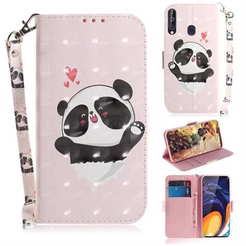 Heart Cat 3D Painted Leather Wallet Phone Case for Samsung Galaxy M40