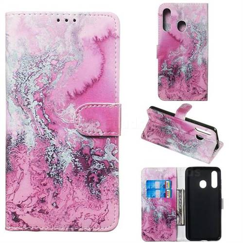 Pink Seawater PU Leather Wallet Case for Samsung Galaxy M40