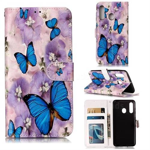 Purple Flowers Butterfly 3D Relief Oil PU Leather Wallet Case for Samsung Galaxy M40