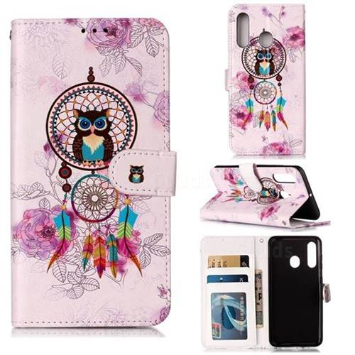 Wind Chimes Owl 3D Relief Oil PU Leather Wallet Case for Samsung Galaxy M40