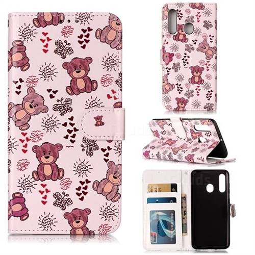Cute Bear 3D Relief Oil PU Leather Wallet Case for Samsung Galaxy M40