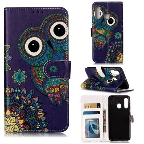 Folk Owl 3D Relief Oil PU Leather Wallet Case for Samsung Galaxy M40