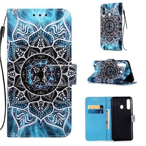 Underwater Mandala Matte Leather Wallet Phone Case for Samsung Galaxy M40