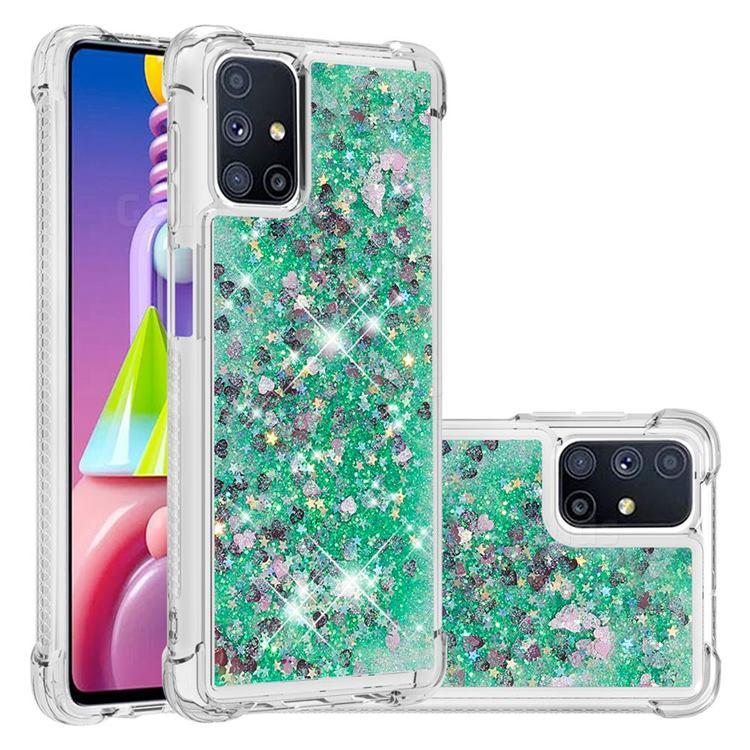 Dynamic Liquid Glitter Sand Quicksand TPU Case for Samsung Galaxy M51 - Green Love Heart