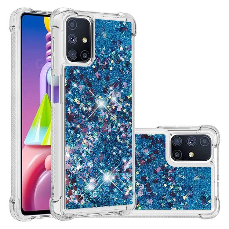 Dynamic Liquid Glitter Sand Quicksand TPU Case for Samsung Galaxy M51 - Blue Love Heart