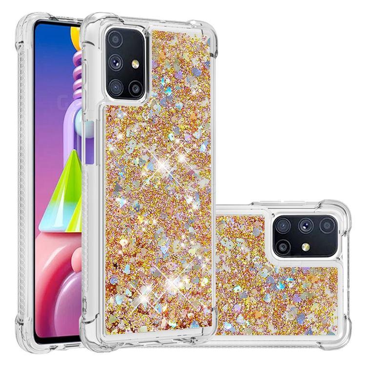 Dynamic Liquid Glitter Sand Quicksand TPU Case for Samsung Galaxy M51 - Rose Gold Love Heart