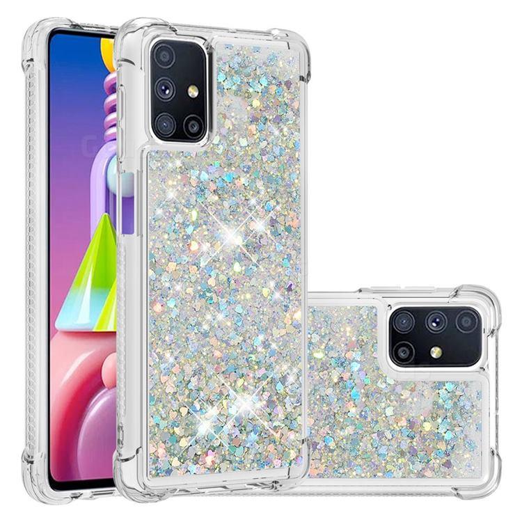 Dynamic Liquid Glitter Sand Quicksand Star TPU Case for Samsung Galaxy M51 - Silver