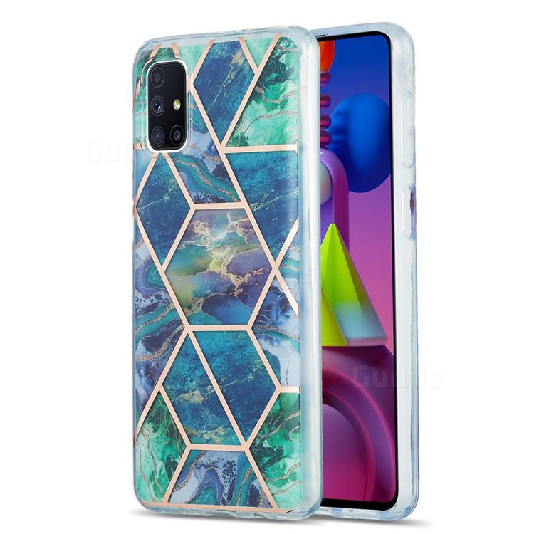 Blue Green Marble Pattern Galvanized Electroplating Protective Case Cover for Samsung Galaxy M51