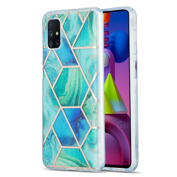 Green Glacier Marble Pattern Galvanized Electroplating Protective Case Cover for Samsung Galaxy M51