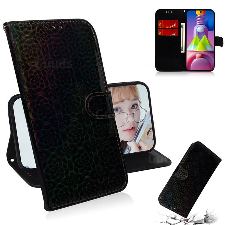 Laser Circle Shining Leather Wallet Phone Case for Samsung Galaxy M51 - Black