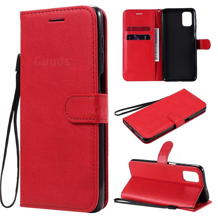 Retro Greek Classic Smooth PU Leather Wallet Phone Case for Samsung Galaxy M51 - Red