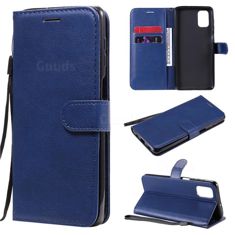 Retro Greek Classic Smooth PU Leather Wallet Phone Case for Samsung Galaxy M51 - Blue